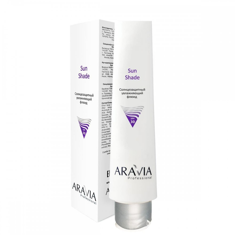 "Aravia Professional  Сонцезахисний зволожуючий флюїд ""Sun Shade SPF-30"" для обличчя 100 мл."