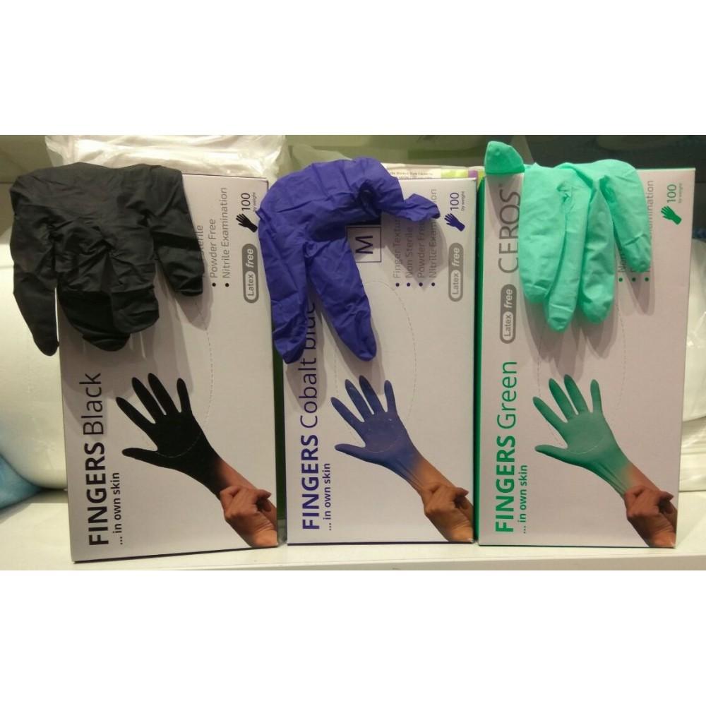 Ceros рукавичкі нітрілові XS-S-M різнокольорові 100 шт.